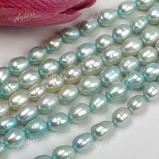 5-6mm Light Blue Freshwater Pearl Rice Loose Beads 15