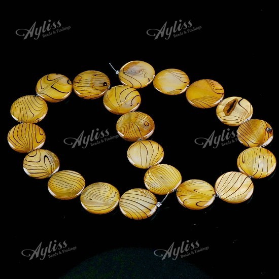 20mm Mother Of Pearl Shell Coin Stripes Beads