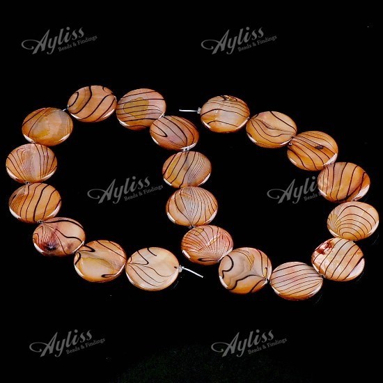 20mm Mother Of Pearl Shell Disk Stripe Loose Beads