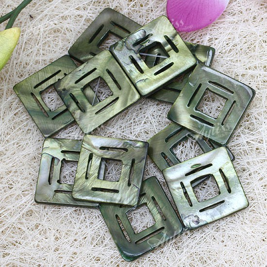 Mother Of Pearl Shell Square Jewelry Loose Beads 11pcs
