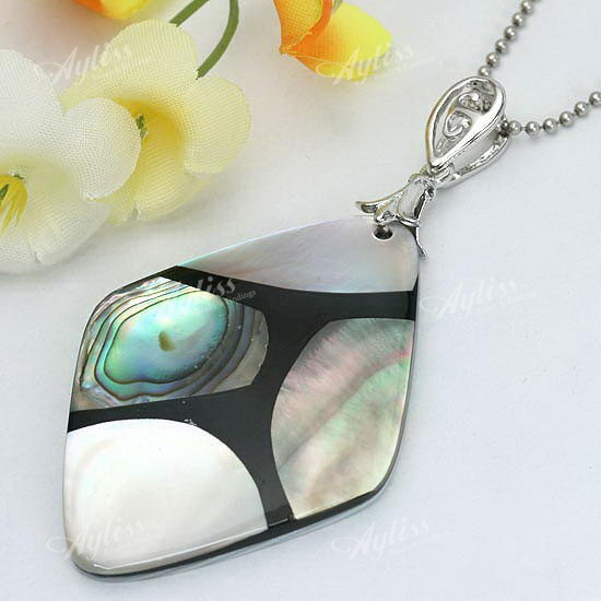 34x49mm Mop Shell Rhombus Bead Pendant For Necklace 1p