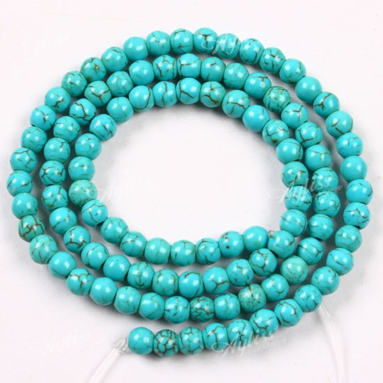 4mm Howlite Turquoise Bead Round For Jewelry Design