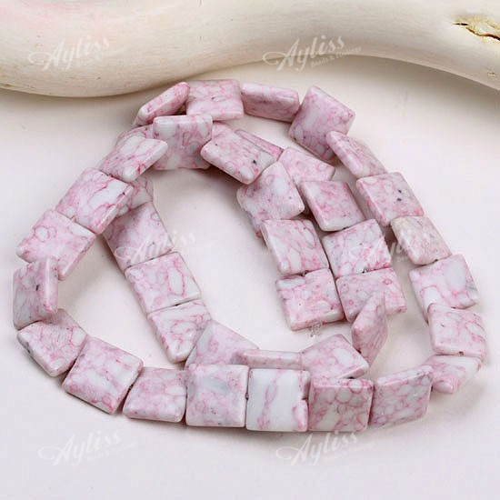 10mm Pink Howlite Turquoise Square Loose Beads 16