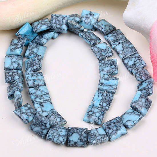 10mm Howlite Turquoise Square Gemstone Loose Beads 16