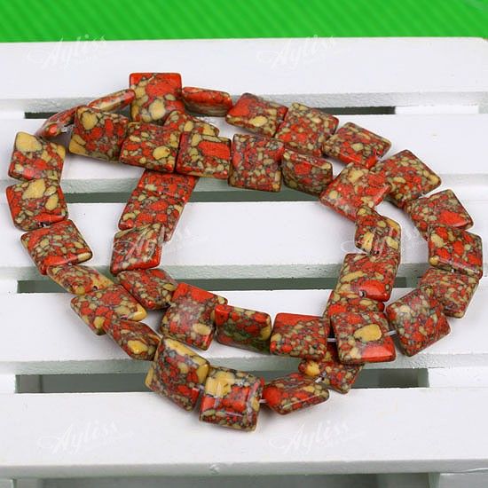 10MM RED YELLOW FLOWER HOWLITE TURQUOISE SQUARE BEAD