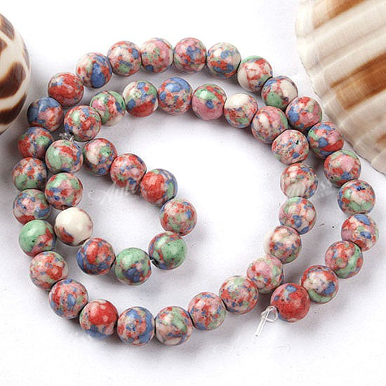 8mm Chromatic Howlite Turquoise Round Loose Beads 15