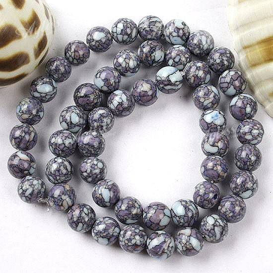 8mm Purple Howlite Turquoise Round Loose Beads 15