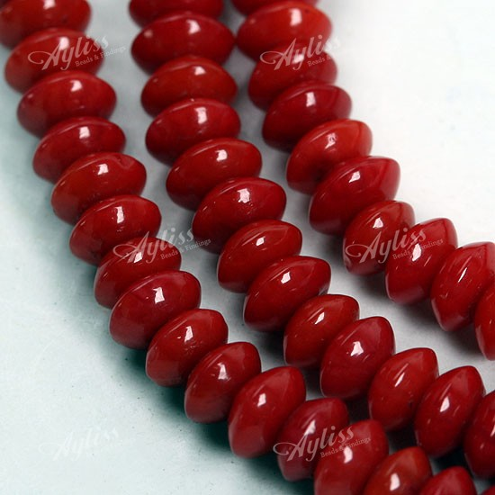 2x4mm Red Coral Abacus Loose Beads 1 Strand