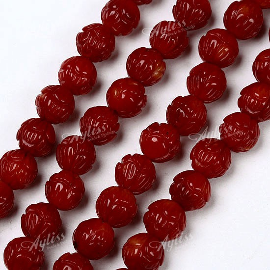 8mm Red Coral Round Craved Flower Loose Beads 17