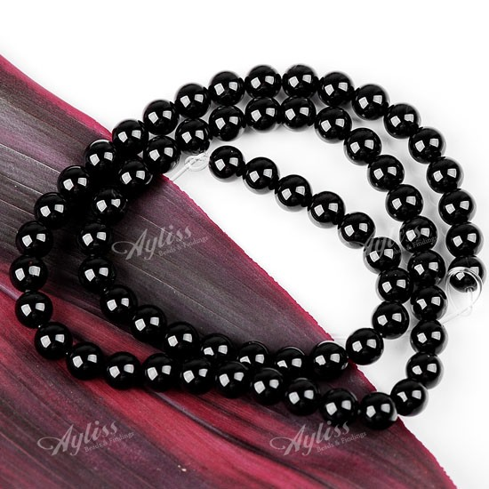 6MM BLACK ONYX AGATE GEMSTONE ROUND BALL LOOSE BEAD GEM