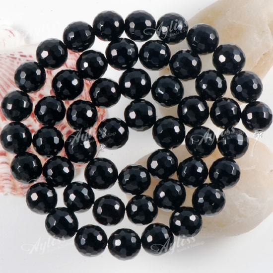 Noble Black Onyx Agate Faceted Round Loose Beads 8mm