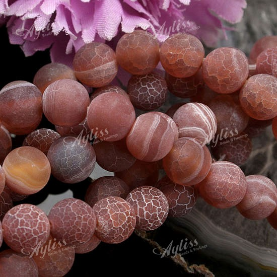 8MM FROST DRAGON VEINS FIRE AGATE GEMS ROUND BEADS 15&quot;L