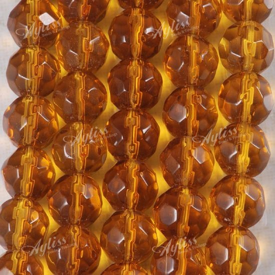 8mm Fine Fire Polished Topaz Glass Round Loose Beads Strand 13 inches