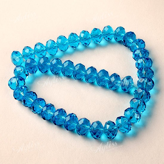 10 X 8mm Blue Crystal Glass Faceted Loose Beads