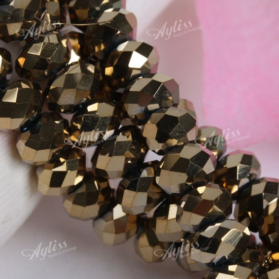 4x6mm Golden Crystal Glass Faceted Abacus Loose Beads