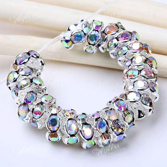 8mm Shiny Rhinestone Spacers Findings Loose Bead 20pcs