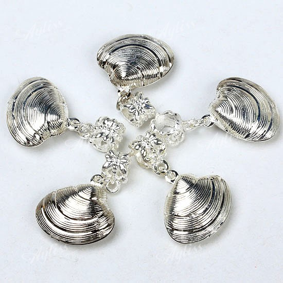 10pc Silver Plated Dangle Shell Bead Fit Charm Bracelet