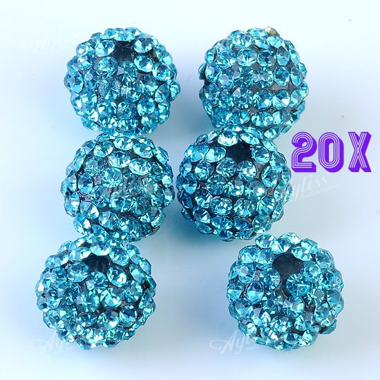 20pcs 10mm Lake Blue Crystal Resin Disco Ball Round Loose Beads Jewelry Findings
