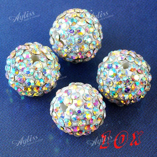 10pc 12mm AB Clear Crystal Resin Disco Ball Round Loose Beads Jewelry Findings
