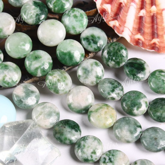 Green Spot Jasper Loose Beads Gemstone Flat Round 10mm