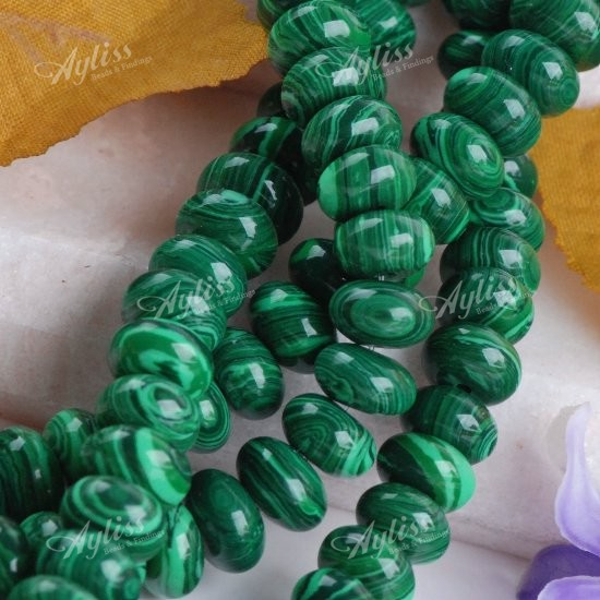 Lovely Synthetic Malachite Abacus Loose Bead 15