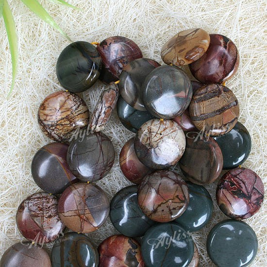20mm Picasso Jasper Gemstone Coin Button Loose Beads