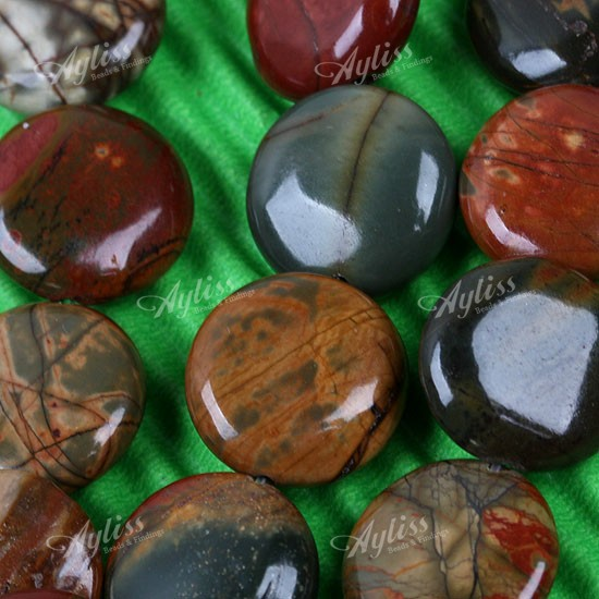 12mm Picasso Jasper Gemstone Coin Loose Bead 1 Strand