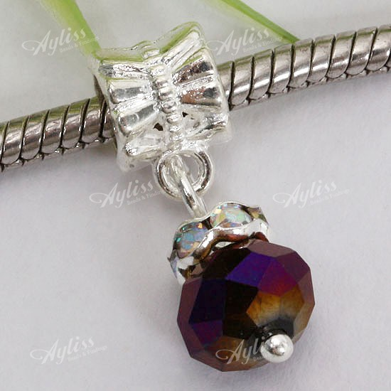 Ab Purple Crystal Glass Dangle Fit Bracelet Charm European Beads 10p