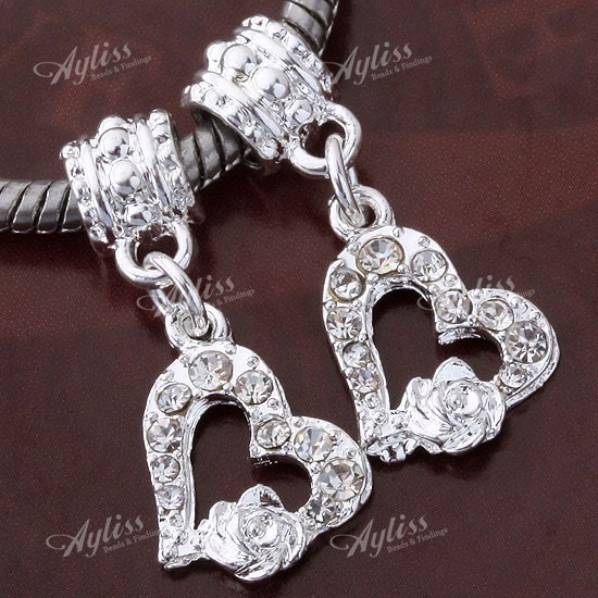 20-Silver-Plated-Crystal-Heart-Love-Rose-Flower-European-Bead-Charm-Fit-Bracelet