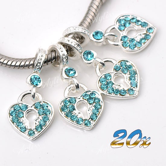 20x-Blue-Crystal-Heart-Love-Lock-Key-Dangle-Charm-European-Bead-Fit-Bracelet-Lot