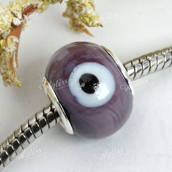 Lilac Lampwork Glass Evil Eye Loose Bead Fit Bracelet