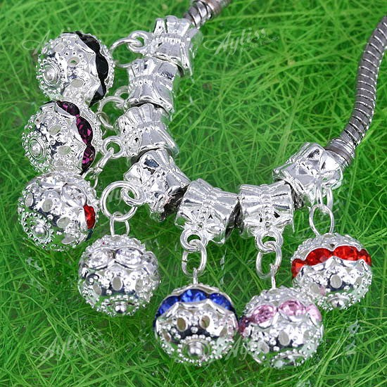 20p Multi Crystal Ball Dangle European Charm Beads