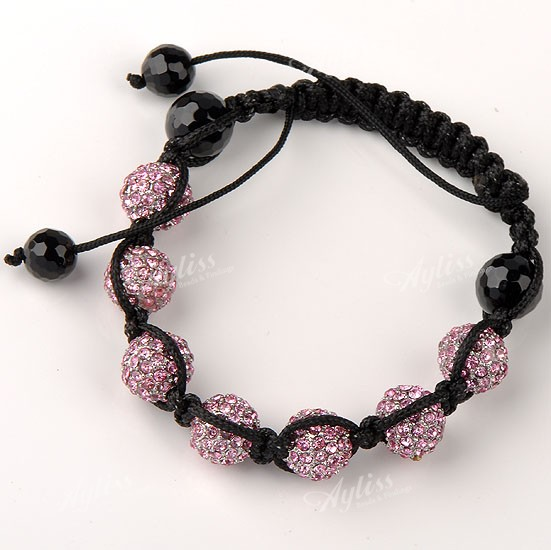 Pink Crystal Disco Hip Hop Ball Beads Bracelet Adjustable Men's Fashion