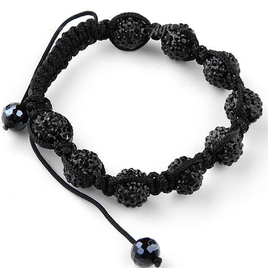 Black Crystal Disco Ball Beads Macrame Hip Hop Bracelet Fashion Charm Bling