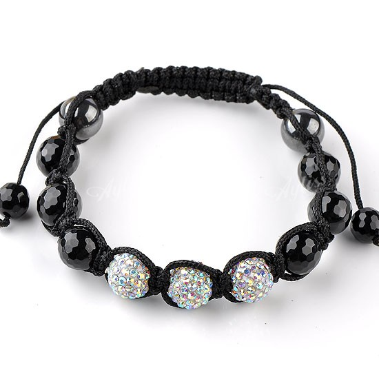 1PC AB Clear Crystal Black Agate Disco Ball Macrame Hip Hop Men's Bracelet Woven