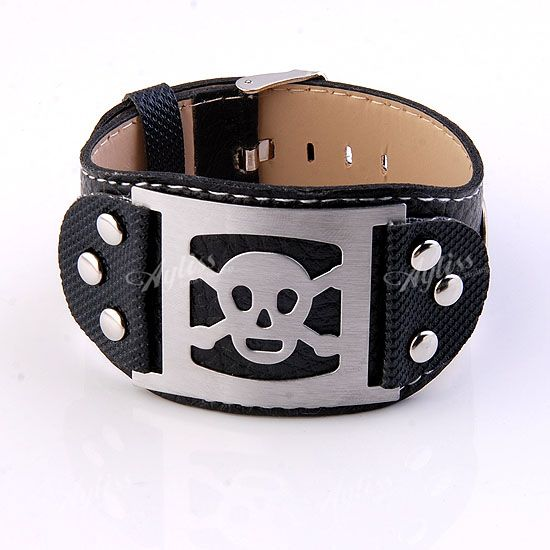 Black PU Leather Stainless Steel Skull Punk Belt Bracelet Cuff Wristband Men's