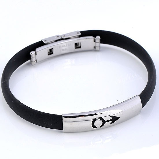 Mens-Black-Rubber-Mens-Symbol-Bracelet-Bangle-Stainless-Steel-Christmas-Gift
