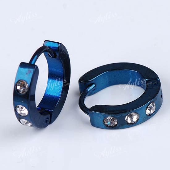 2p-Blue-Circle-Steel-Crystal-Studs-Earrings-Hoop-Huggie