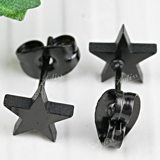0.7mm Pin Black Stainless Steel Star Stud Earring 1 Pair