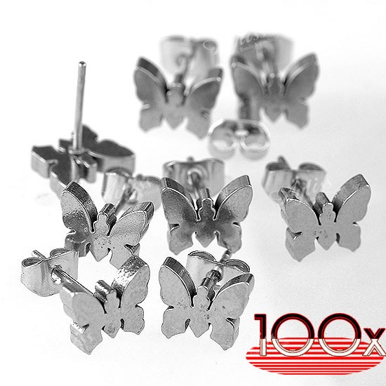 100x-Butterfly-Ear-Stud-Earring-Womens-Wholesale-Stainless-Steel-Push-Back-Lot