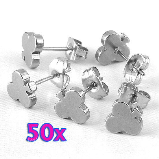 50x-Silvery-Plum-Flower-Stainless-Steel-Push-Back-Ear-Stud-Earring-Fashion-Bulk