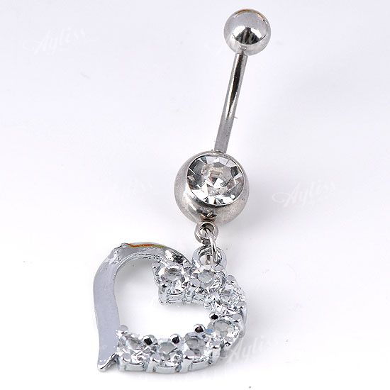 1PC 14G Crystal Dangle Heart Belly Navel Ring Curved Barbell Body Piercing Steel