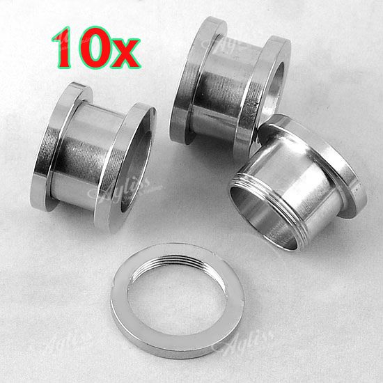 "10pc 1/2"" Stainless Steel Ear Tunnel Plug Stretcher Flesh Expander Piercing"