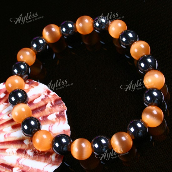 8mm Hematite Orange Cat Eye Round Bead Bracelet Stretch