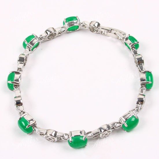 Lucky Imperial Green Jade Oval Bead Bracelet 1p Fashion