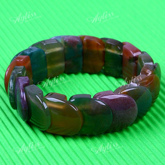"Indian Agate Scale Elastic Bracelet Bangle 8""l 1pc"