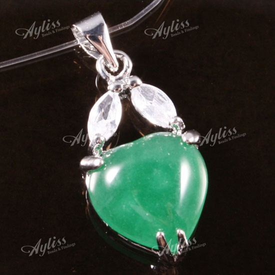 12X28MM CHARMING GREEN JADE HEART GEMSTONE BEAD PENDANT
