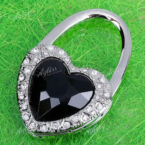 Black Heart Foldable Purse Handbag Holder Hook Hanger