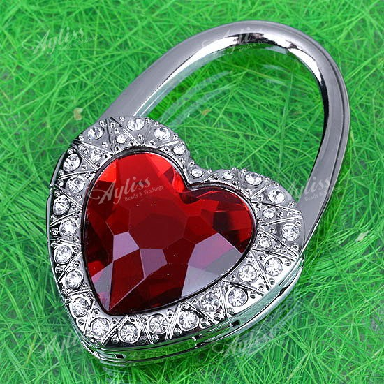Red Heart Foldable Purse Handbag Holder Hook Hanger