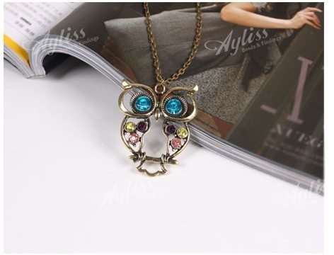 "1strand Korean style 29"" Vintage Antique Bronze Resin Crystal Owl Pendant Chain Necklace Fashion Gift"